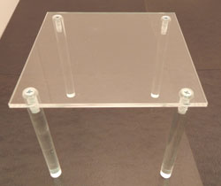 "Acrylic Table, 6"" x 6"", Available in 4 heights"