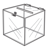 "Acrylic Locking Ballot Box, 8 1/2"" Square"