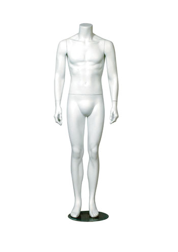 Headless Male Mannequin Hands By Side Legs Straight Round Base