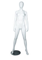 Female full body glossy white abstract mannequin with shoulder width legs
