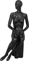 Female full body glossy black abstract sitting mannequin