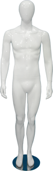 Male full body glossy white abstract mannequin with straight legs