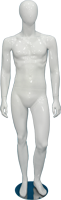 Male full body glossy white abstract mannequin with bent knee