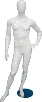 Male full body glossy white abstract mannequin with hand on hip