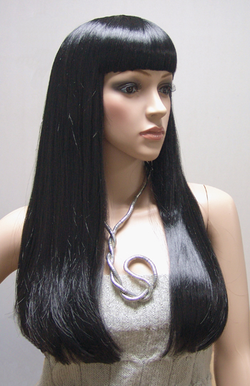 Black Mid Back Length Hair With Straight Bangs Mannequin