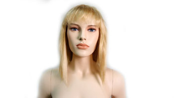 Realistic Female Mannequin Wig Straight Shoulder Length With Bangs Blonde