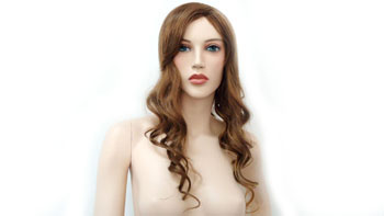 Realistic Female Mannequin Wig Curly Long -Red