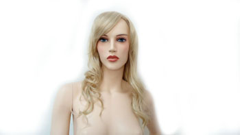 Realistic Female Mannequin Wig Some Curl No Bangs - Blonde