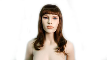 Realistic Female Mannequin Wig Straight Top Of Chest Length With Bangs-Brown