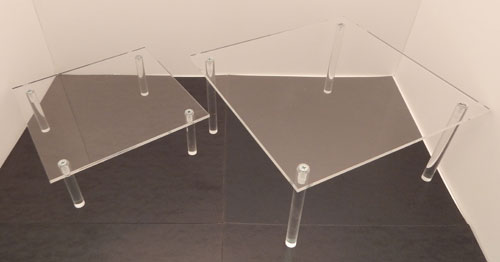 "Acrylic Table, 10"" x 10"", Available in 4 heights"
