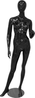 Female full body glossy black abstract mannequin with left arm raised