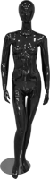 Female full body glossy black abstract mannequin with arms by side