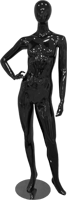 Female full body glossy black abstract mannequin with hand on hip