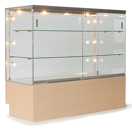 circular retail display case