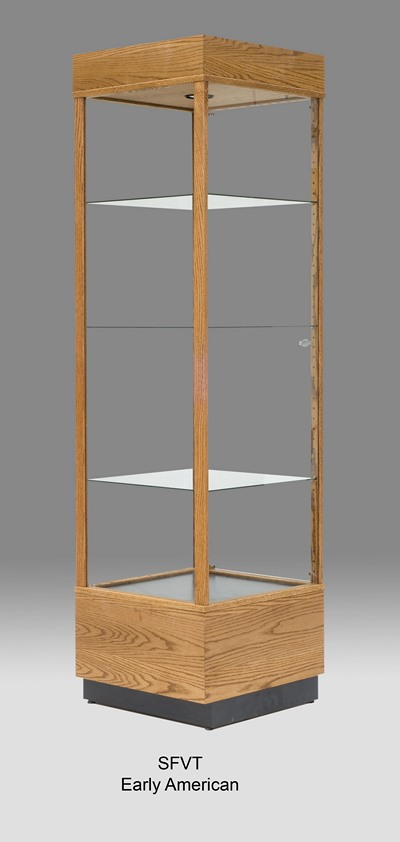 Full Vision Tall Glass Wooden Display Case