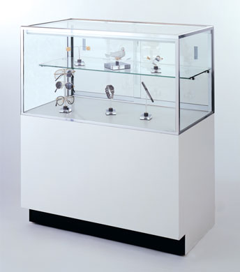 Half-Vision Glass Jewelry Display Cases - 20D x 42H - Available in 4 Widths