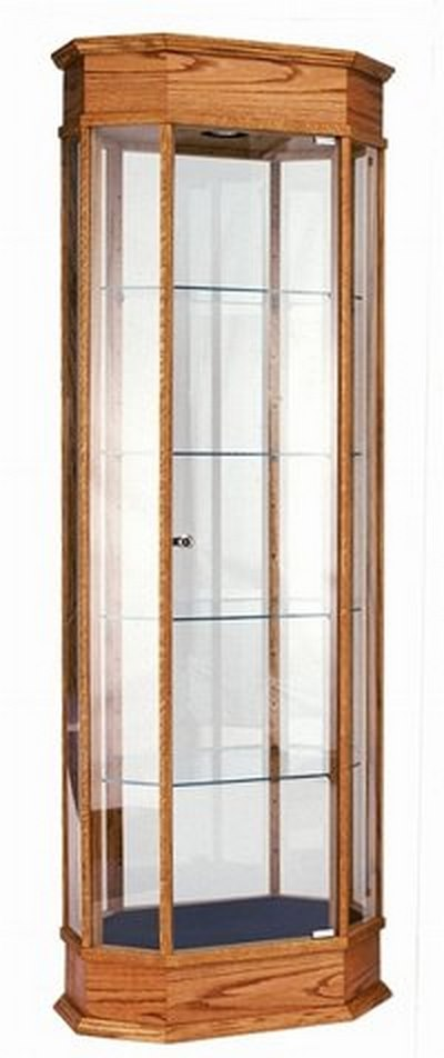 Oak Veneer display Cabinet Tall With Crown Molding