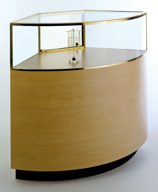 Quarter-Vision Curved Corner Glass Jewelry Display Cases - 44.5W x 24D x 42H - Exceptional Series