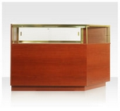 Quarter-Vision Glass Jewelry Display Cases - Corner - One Cut - 20D x 42H - Exceptional Series