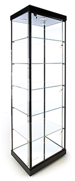 Ready to Ship, Rectangular Tower Display Cases - 24W x 18.5D x 77H - Exceptional Series, Available in Black or Light Cherry