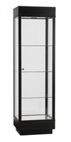 Rectangular Wood Glass Display Cabinet - Black
