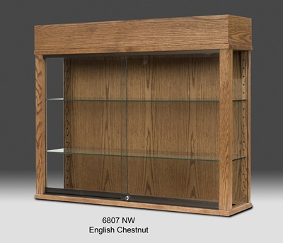 Rectangular Wooden Glass Wall Display Cabinet