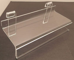 "Acrylic Grid Shelf, 10""w x 4""d w/ Sign holder"