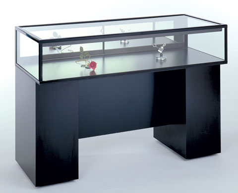 Sit Down Glass Jewelry Display Cases - 20D x 33H - Available in 4 Widths