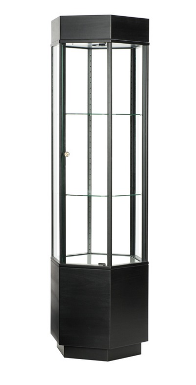Tall Black Wooden Hexagon Display Case