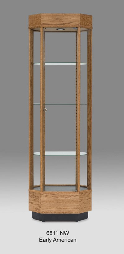 Tall Octogon Glass Display Cabinet Made Of Wood Part 18