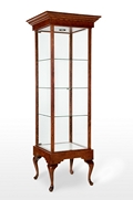Tall Wooden Vintage Glass Display Case