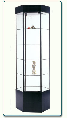 Hexagonal Gl Display Case Retail