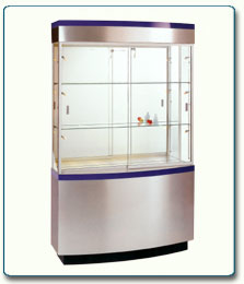 Curved Wall Display Case - 36W x 11D x 76H - Exceptional Series