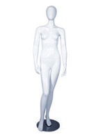 Female full body glossy white abstract mannequin with arms by side