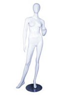 Female full body glossy white abstract mannequin with left arm raised