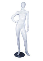 Female full body glossy white abstract mannequin with hand on hip