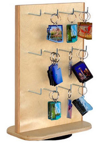 Wood Keychain And Magnet Display For Countertop Wooden