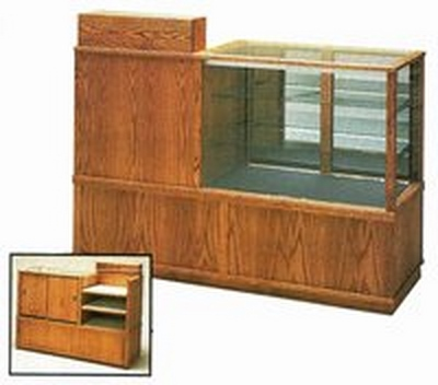 Wooden Combination Display Case and Cash Register Stand