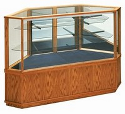 Wooden Corner Glass Display Case - Full View