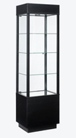 Wooden Glass Display Case Rectangular - Black