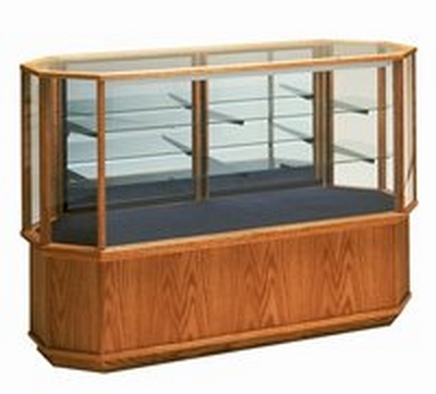 Wooden Octagon Glass Display Case - Full View