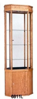 Wooden Octogon Tall Glass Display Case