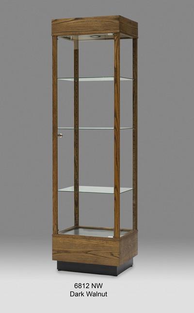 Wooden rectangular tall glass display cabinet tower