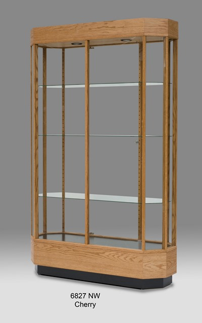 Wooden Wide Octagon Tall Glass Display Case Wall Display